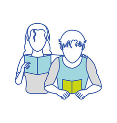man and woman reading design vector image