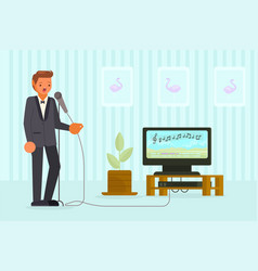 man singing karaoke in flat vector image