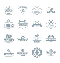 Mechanics logo icons set simple style vector