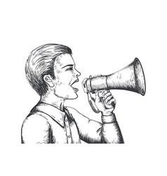megaphone sketch hand drawn loudspeaker engraving vector image