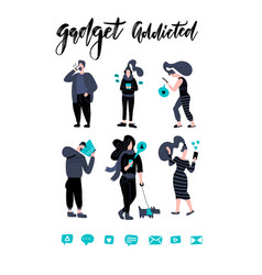 men and women walking and holding mobile phones vector image