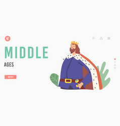 middle ages landing page template king character vector image