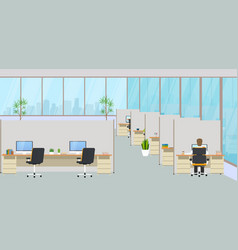 modern office center with workplaces and vector image