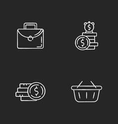 money investment chalk white icons set on black vector image
