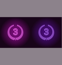 Neon icon of purple and violet third place vector