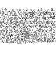 nine lines people sitting on stadium vector image
