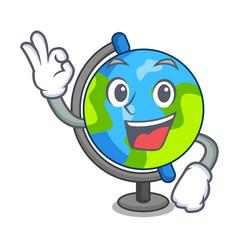 okay globe character cartoon style vector image