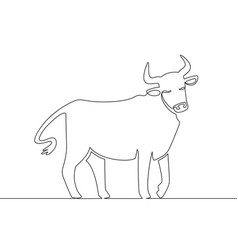 One line ox chinese new year 2021 bull continuous vector