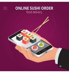 Online sushi Ecommerce concept order food online vector
