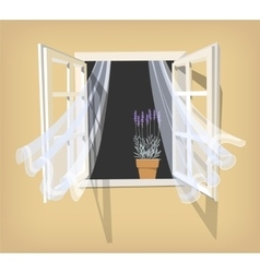 Open window with lavender vector image