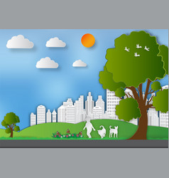 paper art style of landscape with girl and dogs vector image