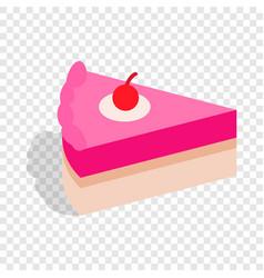 Piece cake isometric icon vector