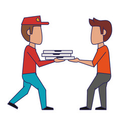 Pizza guy delivering to customer blue lines vector