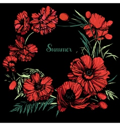 Poppies round color black back vector image
