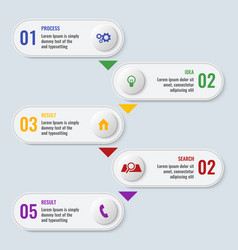 process business chart with five steps in long vector image