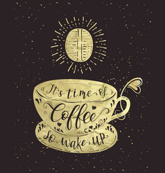 Quote on coffee gold cup vector