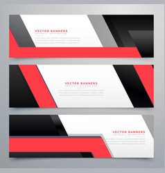 Red black geometric banners set background vector