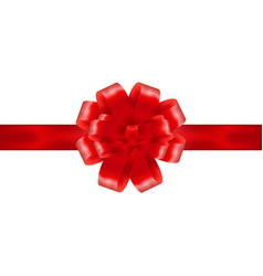 red ribbon with bow on a white background vector image