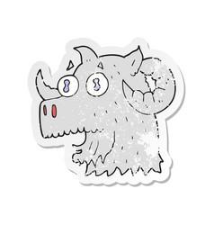 Retro distressed sticker of a cartoon ram head vector