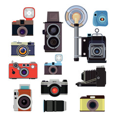 Retro old cameras and symbols for photographers vector