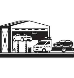 Roadside assistance pickup brings car to servi vector