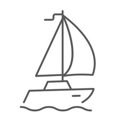 sail yacht thin line icon travel and tourism vector image