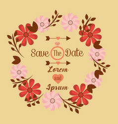 Save the date wedding invitation design template vector