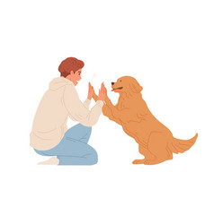 Scene with smart dog giving high five to person vector