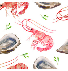 Seamless pattern seafood prawns oysters watercolor vector