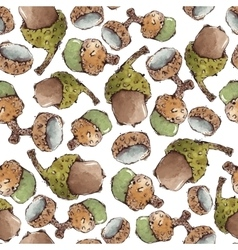 Seamless Pattern with Watercolor Acorns vector image