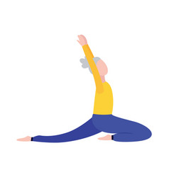 Senior woman in stretching yoga position isolated vector