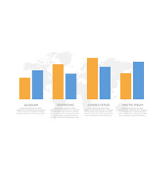 set blue orange elements for infographic with vector image
