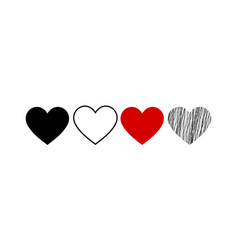 set heart icon symbol isolated on a white vector image