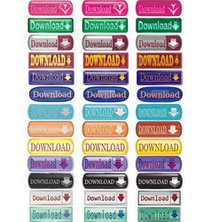 set of buttons of the download presented in a vector image