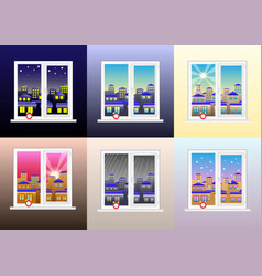 Set of different views from the window vector