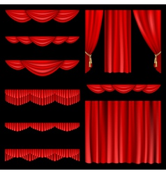 Set red curtains to theater stage mesh vector
