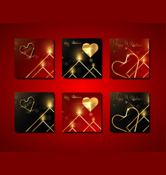 set valentines day gold square greeting cards vector image