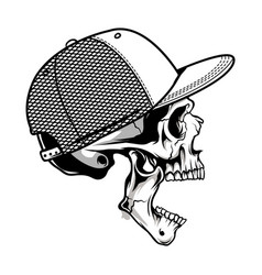 sinister skull gaping mouth wearing a hat vector image