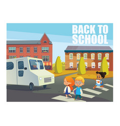 Smiling children crossing street in front of bus vector