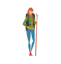 smiling woman with backpack and staff summer vector image