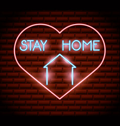 Stay at home campaign with heart neon light vector