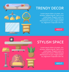 Stylish and cozy home space poster set vector