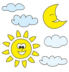 Sun moon and clouds weather cartoon icons vector image