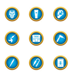 Tattoo master icons set flat style vector