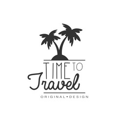 travel logo design with palm trees vector image