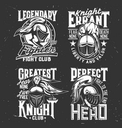 tshirt prints with knight heads mascots set vector image