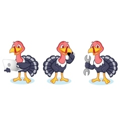 Turkey Mascot with phone vector