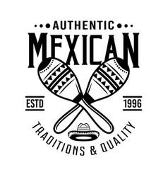 Two crossed maracas mexican emblem badge vector