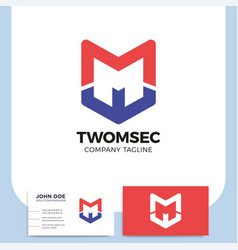 two letter m shield logo icon design template vector image