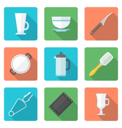 various flat style dinnerware icons set vector image